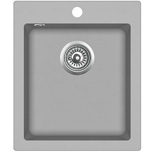 Spüle Granit Verbundspüle Küchenspüle Einbauspüle Auflage 425 x 500 mm rechteckig Spülbecken + Siphon Grau