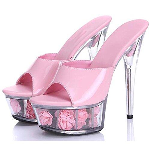 W&LMTacchi alti sandali Scarpe di cristallo Fine con Piattaforma impermeabile Tacchi alti Sandali di fiori Spessore inferiore ciabatte infradito (Altezza del tallone 15cm) d