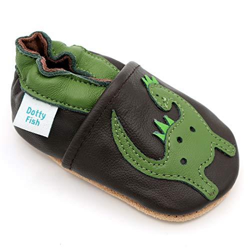 Dotty Fish weiche Leder Babyschuhe mit rutschfesten Wildledersohlen. 4-5 Jahre (28 EU). Braune Schuhe mit grünem Dinosaurier Design. Jungen und Mädchen. Kleinkind Schuhe.