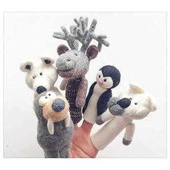 Grönlandtiere – Set aus gefilzten und gestrickten Fingerpuppen aus Wolle