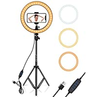 Mobicloud LED Ring Light with 3 Light Modes with Tripod Stand Smartphone Holder Use for Shooting, Tiktok, Musically…