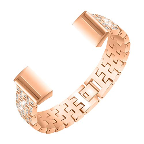 TianranRT Bling Edelstahl Stahl Metall Armband Armband Band für Fitbit Ladung 3 Smart Watch (Roségold) (Cookie Band Cutter)