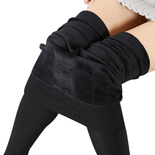 Pantalones - GillBerry Mujer Niña Grueso Calentar Invierno Los Pantalones EláSticos (Negro)