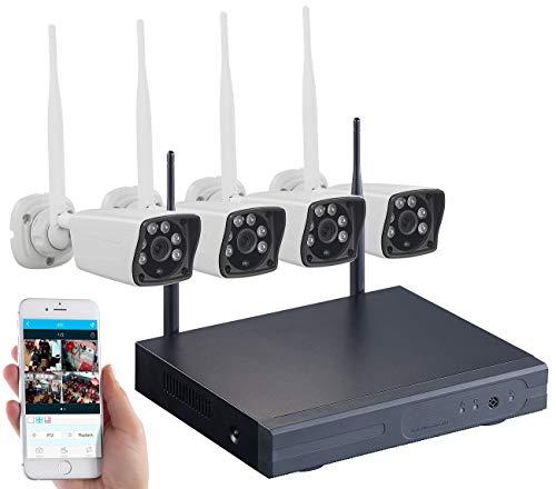 VisorTech Überwachungssystem: Funk-Überwachungs-Set mit HDD-Rekorder und 4 Full-HD-Kameras, App (Funk Überwachungskamera)