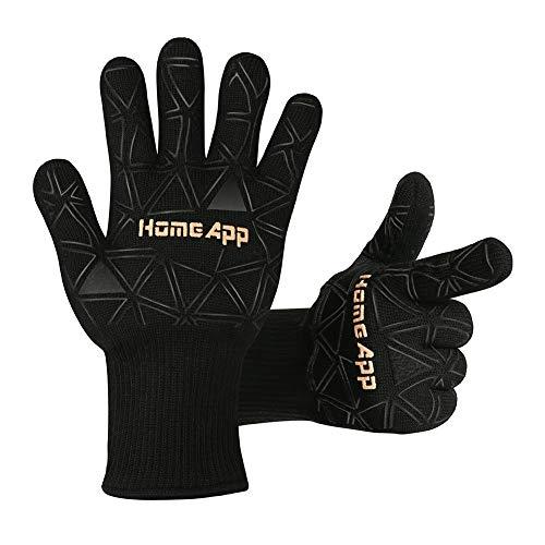 Grillhandschuhe Ofenhandschuhe HomeApp Kochhandschuhe Hitzeschutzhandschuhe bis 500 °C Handschuhe zum Grillen Kochen Herd Backofen Backen Mikrowelle und Schweißen BBQ Gloves 1 Paar (mit Weinausgießer) (Drop-in-grill)
