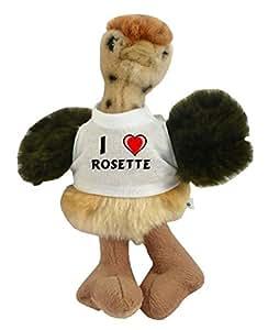 Peluche autruche personnalisé avec un T-shirt J'aime Rosette (Noms/Prénoms)