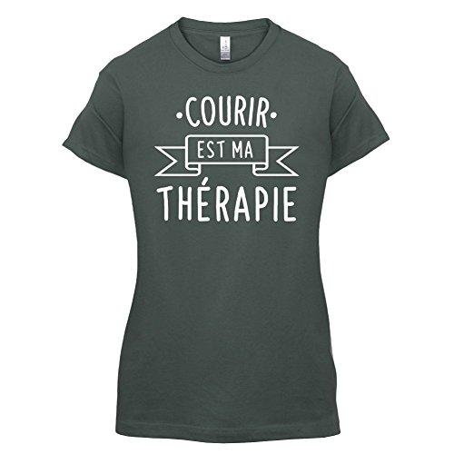 Courir est ma thérapie - Femme T-Shirt - 14 couleur Gris Foncé