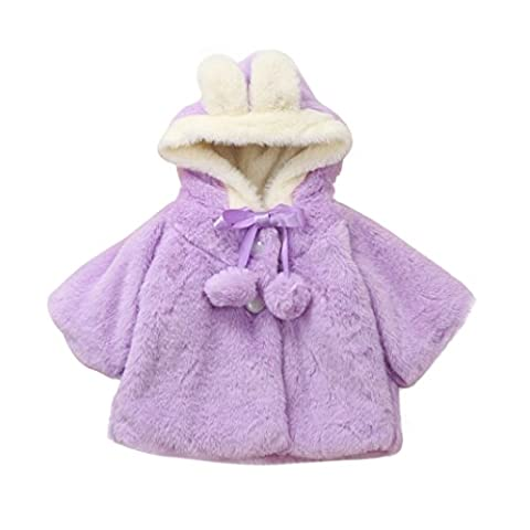 Kingko® 0~24 Month Baby Girls Infant Cotton Winter Warm Coat Cloak Jacket Thick Warm Clothes (Age:0~9 Month,