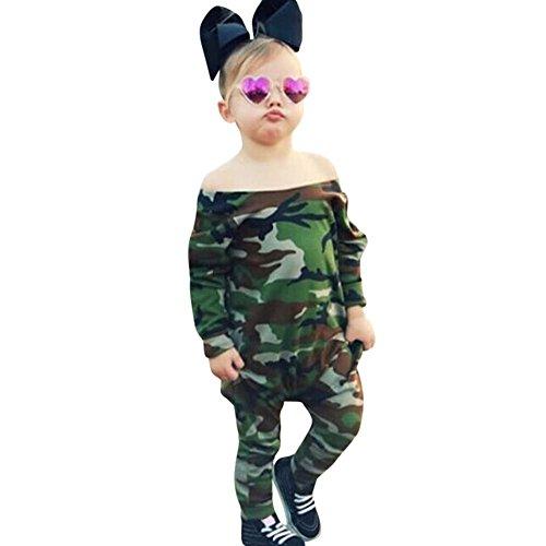 Für Ideen Mädchen Halloween Kostüme (Neugeboren Baby Junge Mädchen Tarnung Spielanzug Outfits Set Unisex Langarm Kleidung Bodysuit Spielanzug übergang overall baby Body Romper Overalls Outfits Jumpsuits Bekleidung (90CM,)