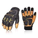 Vgo guanti da lavoro uomo, guanti in pelle, guanti da meccanico, antivibrazione, caldi, multifunzione (1 paio, 9/L, Marrone, GA8954)