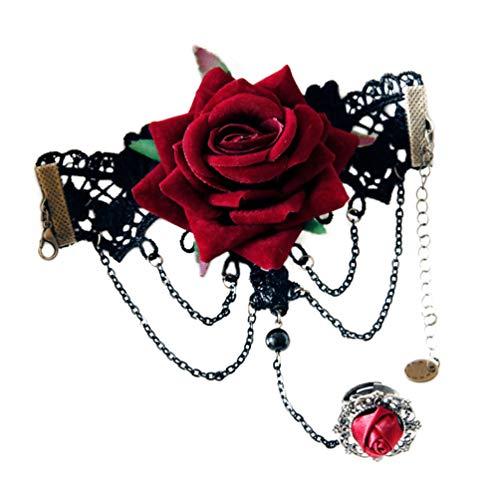 Braut Adult Kostüm Gothic - Happyyami Gothic schwarzer Spitze Rose Blume Armband mit Ring Seil Armband für Frauen Halloween Hochzeit Kostüm Zubehör Partyartikel