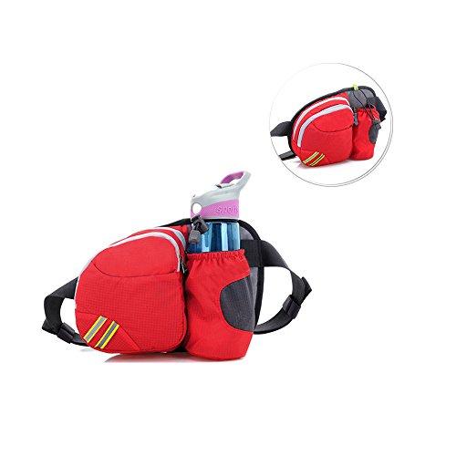 Outdoor Taille Tasche, sunhiker Sport wasserabweisend Taille Pack mit Wasser Flasche. Running Gürteltasche Tasche Fanny Pack für Hiking Running Radfahren Camping Klettern Reise. Rot
