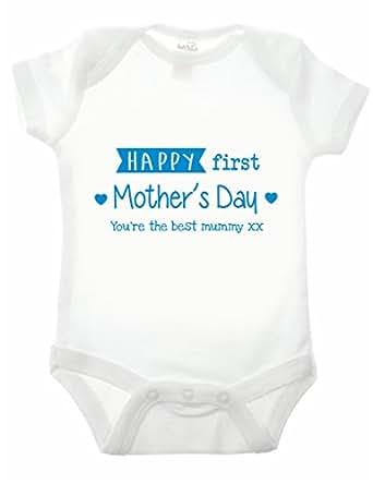 Bullshirt's Happy First Mothers Day Babygrow (0-3 Months, White/ Blue)