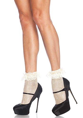 Leg Avenue Qualität Daisy Dot Crochet Rüsche Fußkettchen Socken, One Size Gr. One Size, elfenbeinfarben -
