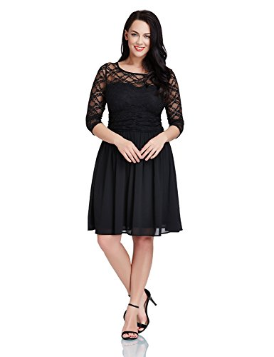 LookbookStore Robe femme grande taille top dentelle jupe chiffon mousseline trapèze patineuse formelle Noir