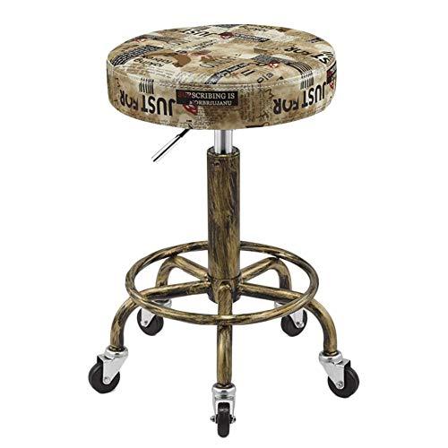 Caijun sgabello bar retro acciaio inossidabile spugna spessa regolabile in altezza ruotabile ruota universale poltrona da barbiere, 7 colori multiuso chair (colore : e, dimensioni : 47x64cm)