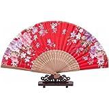 Red : Out Ribs Folding Hand Fan - SODIAL(R) Purple Flower Pattern Bamboo Hollow Out Ribs Folding Hand Fan Red