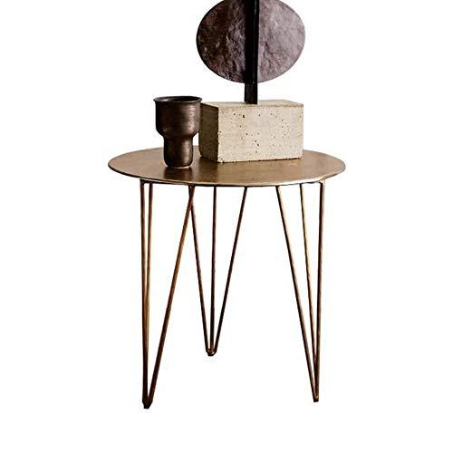 DEO Tables d'appoint gigognes Table d'appoint Table d'appoint ronde en métal doré avec 3 pieds