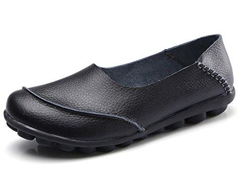CCZZ Damen Mokassins Bootsschuhe Leder Loafers Freizeit Flache Schuhe Rutschfest Fahren Halbschuhe Slippers