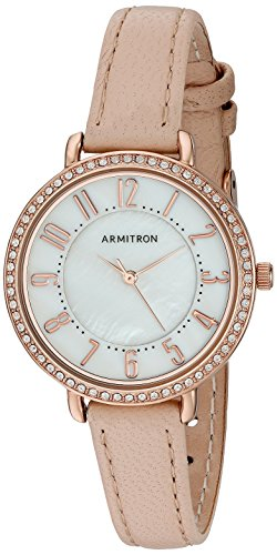 Armitron Women's 75/5403MPRGBH Swarovski Crystal Accented Easy To Read Blush Pink Leather Strap Watch