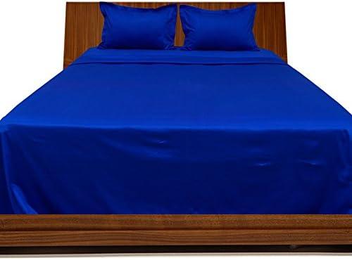 Dreamz Lenzuola Super Morbido 650 Thread Count cm) Elegante Finitura con Angoli (Profonda Tasca  53,3 cm) Count Lunghezza Singolo, Blu Royal Blu Egiziano Solido d50b41