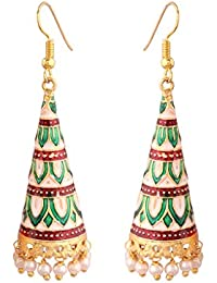 I Jewels Multicolour Gold-Plated Rajasthani Earrings for Women