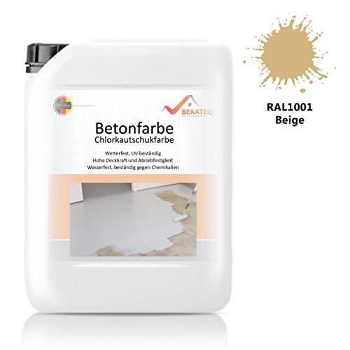 Bekateq LS-470 Bodenfarbe, seidenmatt RAL1001 Beige 2,5l, 1K Betonfarbe zur Beschichtung und Versiegelung von Beton, Mauerwerk, Stein, Putz