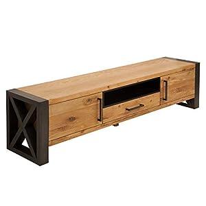 massives tv board thor 200cm wild eiche geolt lowboard im industrial design sideboard wohnzimmerschrank