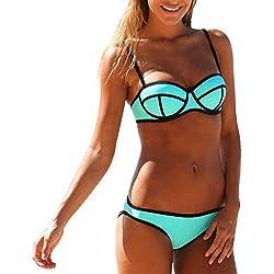 para Mujer Traje de Neopreno de Dos Piezas Push Up 3D Dving Bikini bañadores Verde Verde M