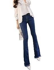Mena UK- Mujeres Ampliación de la sección Borla Slim Hole Fue Delgado Luz Pequeño Bell-bottoms Pantalones Boot Corte Pantalones ( Color : Azul , Tamaño : 25 )