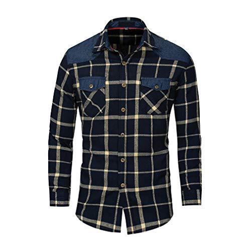 Qiansu uomo camicia spessa button-down flanella a manica lunga camicia a quadri affari slim camicia classiche camicie rosso blu m-3xl