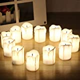 """CHRONOS LED Pillar Candle 2"""" - Battery Powered - Ultra Bright Warm White LED - For Diwali, Christmas, Home Decor, Wedding Decoration, Happy Birthday And Gift - Pack Of 12"""
