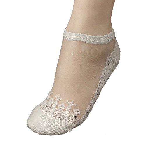 KPILP 1 Paar Damen Sneakersocken Weiche Ultradünne Transparente Strümpfe Elegante Schöne Kristallspitze Elastische Kurze Socken Freizeitsocken,Weiß