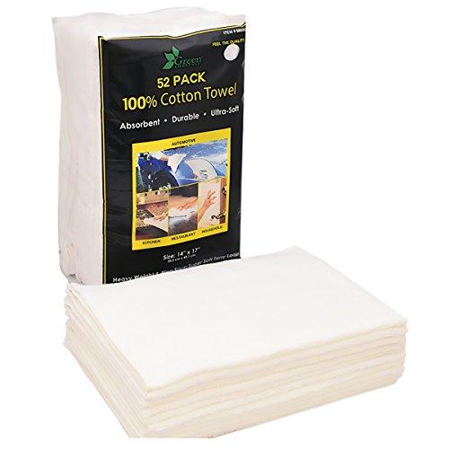 Unitex weiße Baumwoll-Frottiertücher, Packung mit 52 Stück.