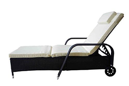 MK Outdoor Rattan Rattanliege Lounger Deluxe-S, belastbar bis 165 kg, inklusive Bequeme abwaschbare Auflage und Kopfkissen, schwarz, Gartenliege, Relaxliege, Liegestuhl,