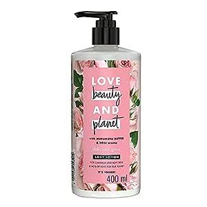 Love Beauty & Planet Natural Murumuru Butter & Rose Glow Body Lotion, 24hr Moisturization, Non-Sticky, Paraben Free, 400 ml