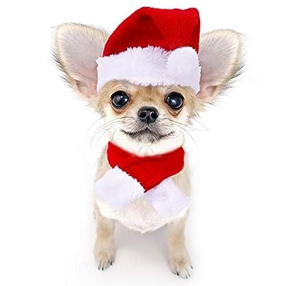 Gorra de Papá Noel de Navidad Ajustable de Mascotas, Capa, Bufanda y Collar de Pajarita Disfraz de Navidad para Cachorro Gatito Gatos Pequeños Perros Mascotas