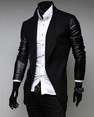 Uomo Sottile Caloroso Cappotto Maniche in ecopelle Giacca Blazers Outwear Invernale Nero