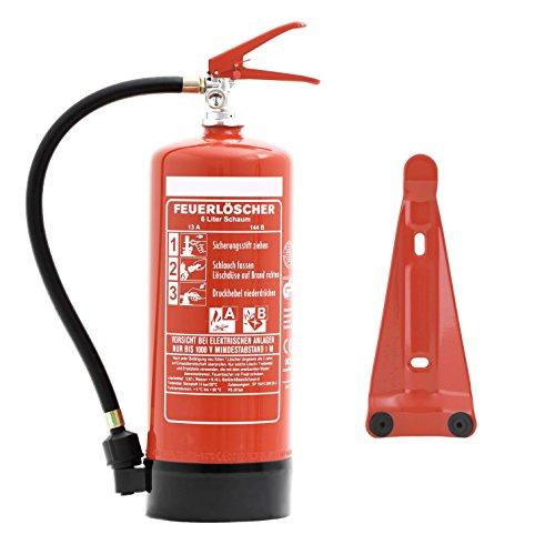 Feuerlöscher 6 Liter Schaum | Brandklasse A und B | mit Halterung | Manometer | Prüfnachweis &...
