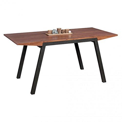 WOHNLING Esszimmertisch 160 x 76 x 80 cm aus MDF-Holz | Eckiger Esstisch in Walnuss-Optik | Robuster Küchen-Tisch in dunkelbrauner Farbe | Esszimmermöbel in modernem Design | Untergestell aus Metall
