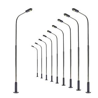 LQS07 10 Stk. Peitschenlampen LED 85mm TT / H0 Straßenlampen flexible Höhe NEU