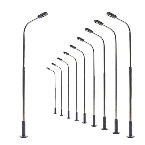 LQS07 10pcs Lampes pour modèle chemin de fer lampadaires de Poste HO TT échelle LED nouveau