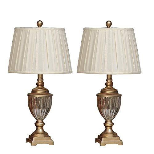 U'Artlines 2er Set Kristall Antike Messing Tischlampe Nachttischlampe Schreibtischlampe mit Leinen Schatten Moderne Metall für Wohnzimmer Schlafzimmer(Gold) (Messing-tisch-lampen Für Schlafzimmer)