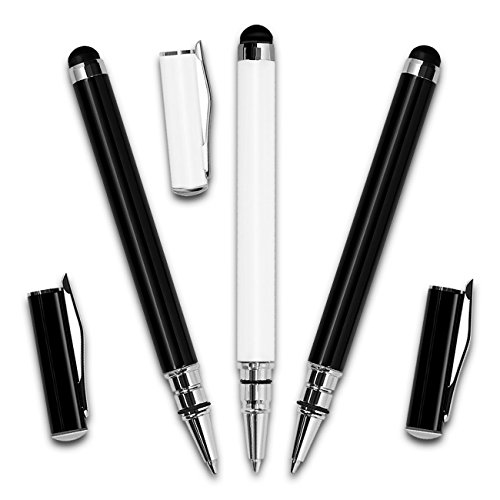 3x Premium 2 in 1 Eingabestift mit Kugelschreiberfunktion schwarz und weiß Touchpen Stylus Stift für Smartphones und Tablets mit Touchscreen