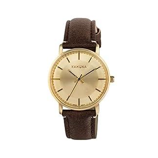 Reloj de Cuarzo Kahuna con Esfera Blanca analógica y Correa de Piel sintética Color marrón KLS-0326L
