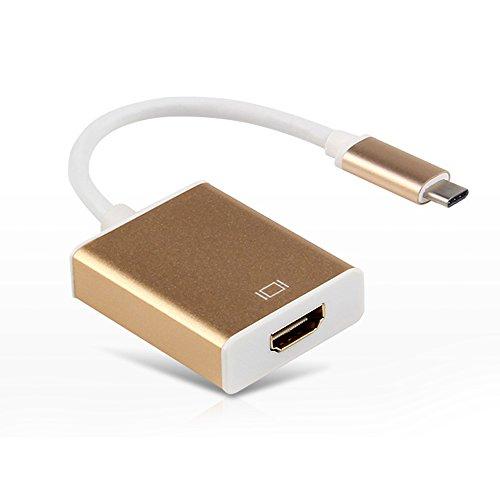 TUTUO Tipo C di HDMI Adattatore Cavo HDMI 1080P Ultra HD e USB 3.1 ad Alta Velocità per il Nuovo MacBook/Google Chromebook/pixel e Altri Dispositivi HDMI-enabled (D'oro)