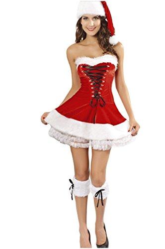 Shangrui Damen Rot Edel Weihnachts Outfit Plus Hut Weste Kurzes Kleid