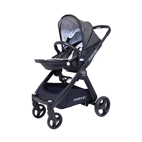 iSafe Marvel 2in1 Complete Pram System Pushchair and Carseat - Charcoal Black iSafe  3
