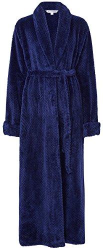 Slenderella Ladies 52 lungo lusso 300GSM spessore morbido pile Waffle scialle collare Bath Robe vestaglia House cappotto piccolo medio grande XL e XXL Blu marino