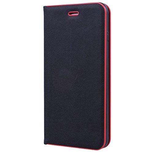 SMART LEGEND Lederhülle für iPhone7 Plus Ledertasche Hülle Blau Metall Rahmen Schutzhülle Premium PU Leder Flip Case Protective Cover Innere Weiche Silikon Bookcase Handy Tasche Schale mit Kartenfäche Schwarz